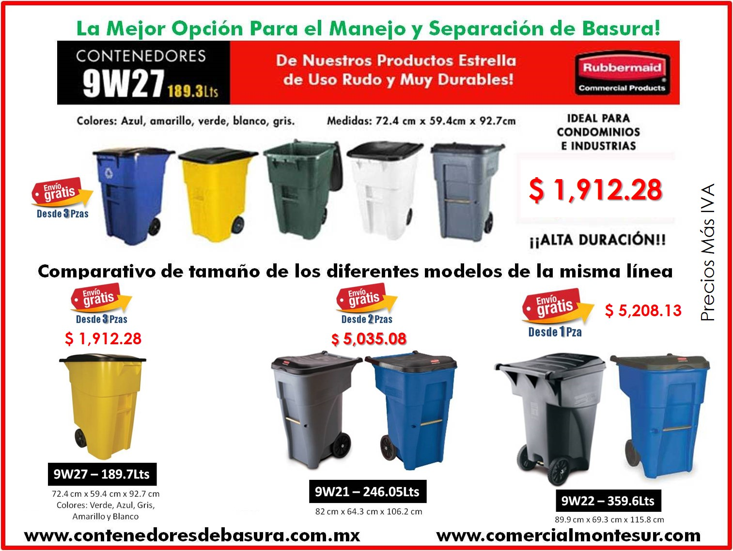 Contenedores Rubbermaid 9W27